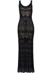 Вязаное платье (цвет белой шерсти/светло-корич) Bonprix