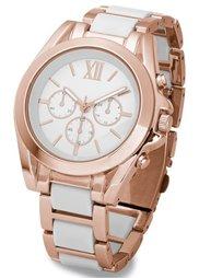 Шикарные часы на металлическом браслете (черный/золотистый) Bonprix