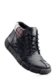 Кожаные ботинки на шнурках (бордовый) Bonprix