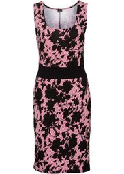 Трикотажное платье (дымчато-серый/белый/черный с п) Bonprix