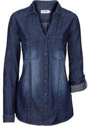 Удлиненная джинсовая рубашка (голубой) Bonprix