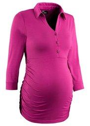 Деловая мода для беременных: футболка-поло с рукавом 3/4 (серый меланж) Bonprix