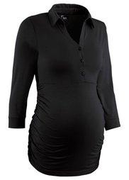 Деловая мода для беременных: футболка-поло с рукавом 3/4 (нежная фуксия) Bonprix