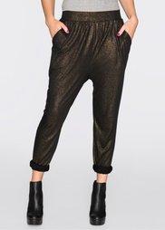 Трикотажные брюки с фолиевым принтом (черный/золотистый) Bonprix