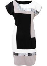 Трикотажное платье (черный/темно-изумрудный) Bonprix