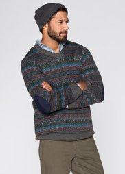 Пуловер с добавлением шерсти Regular Fit (серый меланж с узором) Bonprix