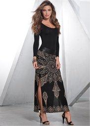 Платье с длинным рукавом (черный) Bonprix