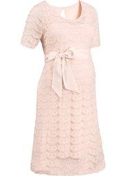 Праздничная мода для беременных: трикотажное платье с кружевом (цвет белой шерсти) Bonprix