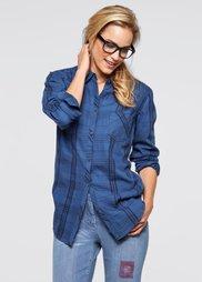 Твиловая рубашка (голубой выбеленный в клетку) Bonprix