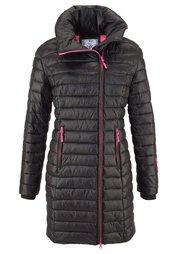 Удлиненная куртка с капюшоном (шиферно-серый/лаймовый) Bonprix