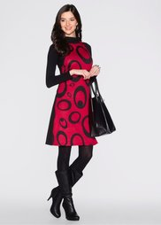 Платье (красный/черный с кругами) Bonprix