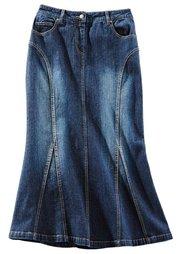 Джинсовая юбка, cредний рост (N) (темно-синий «потертый») Bonprix