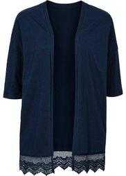 Трикотажная куртка с кружевом (коралловый) Bonprix