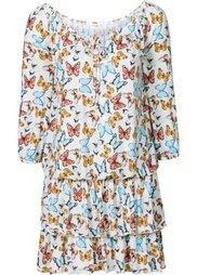 Платье с воланами (светло-коричневый с рисунком) Bonprix