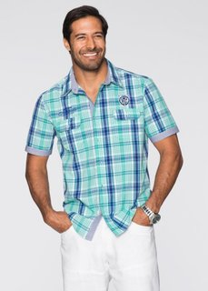 Клетчатая рубашка Regular Fit с коротким рукавом (мятно-зеленый/синий в клетку) Bonprix