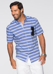 Полосатая рубашка Regular Fit с коротким рукавом (синий/белый в полоску) Bonprix