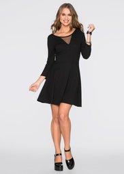 Трикотажное платье с шифоновой вставкой (черный) Bonprix