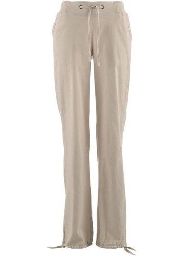 Льняные брюки с поясом в резинку (оливковый)
