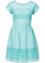 Тканое платье с кружевной вставкой (белый) Bonprix