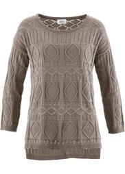 Вязаный крючком пуловер (цвет белой шерсти) Bonprix