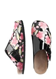 Кожаные пантолеты (черный с цветочным принтом) Bonprix