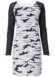 Вязаное платье (синий/цвет белой шерсти с пятн) Bonprix