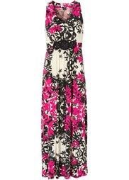 Макси-платье (экрю/темный ярко-розовый) Bonprix