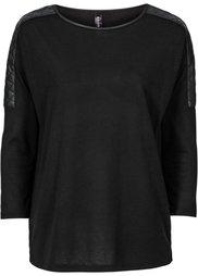Пуловер с отделкой искусственной кожей (кленово-красный) Bonprix