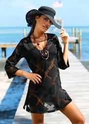 Пляжная туника (черный) Bonprix