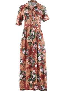 Платье-рубашка (темно-оливковый с рисунком) Bonprix