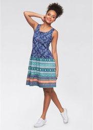 Трикотажное платье с принтом (синий с рисунком) Bonprix