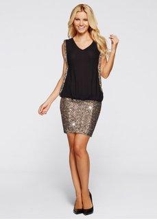 Платье (черный/золотистый) Bonprix