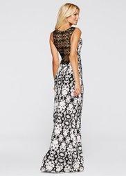 Платье (кремовый/черный с рисунком) Bonprix