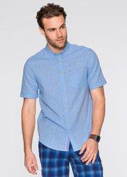 Рубашка Regular Fit с коротким рукавом (голубой/белый меланж) Bonprix
