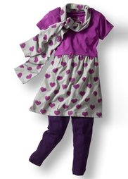 Платье + легинсы + шарф (3 изд.), Размеры 116-170 (светло-серый меланж/антрацитов) Bonprix