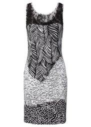 Трикотажное платье (черный/белый/изумрудный с рису) Bonprix