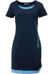 Трикотажное платье с принтом и коротким рукавом (изумрудный) Bonprix