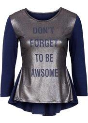 Блестящая футболка (ночная синь/черный) Bonprix