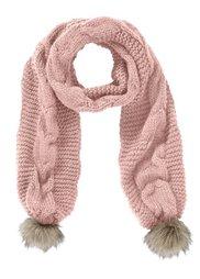 Вязаный шарф с помпонами (белый) Bonprix