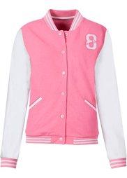 Трикотажная куртка с искусственной кожей (черный/белый) Bonprix