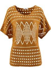 Ажурный пуловер с коротким рукавом (цвет белой шерсти) Bonprix