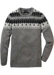 Пуловер Regular Fit с 30% долей шерсти (меланжевая ночная синь) Bonprix