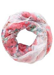 Шарф-снуд с цветами (серый/белый/ярко-розовый) Bonprix