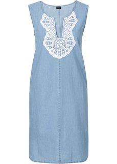 Джинсовое платье с кружевом (цвет белой шерсти) Bonprix