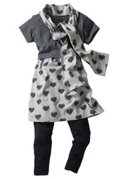 Платье + легинсы + шарф (3 изд.), Размеры 116-170 (пионовый/светло-серый меланж) Bonprix