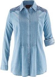 Джинсовая рубашка с кружевом ПРЕМИУМ (темно-синий «потертый») Bonprix