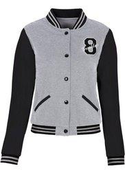 Трикотажная куртка с искусственной кожей (ярко-розовый меланж/белый) Bonprix