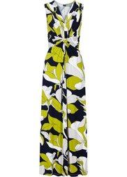 Макси-платье с цветочным принтом (черный/коралловый с рисунком) Bonprix