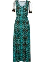 Макси-платье с этническим принтом (черный/цвет белой шерсти с узо) Bonprix