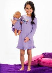 Ночная рубашка + ночная рубашка для куклы (2 изд.), Размеры 92/98-152/158 (сиреневый) Bonprix
